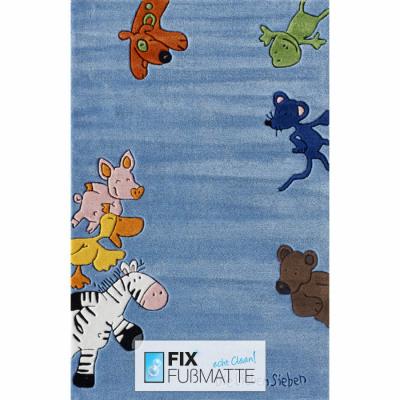 Kinderteppich die lieben sieben  Kinderteppich Die Lieben Sieben blau